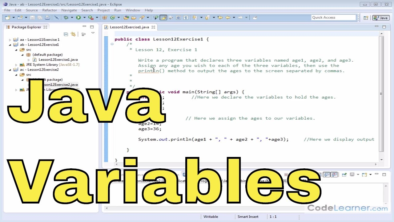 12x - Learn Java - Exercise 1 - Integer Variables