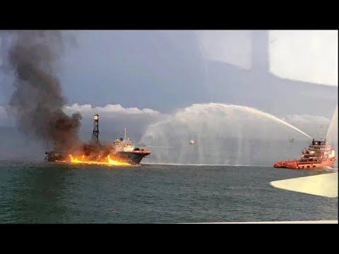 Geo-technical survey ship catches fire off the coast of Baram in Miri
