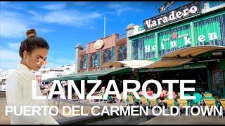 [4K] LANZAROTE WALKING TOUR - Puerto Del Carmen Old Town Harbour