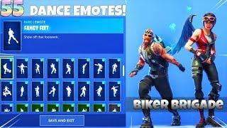 55 DANCE EMOTES on NEW! BIKERS SKIN SET! Fortnite Battle Royale