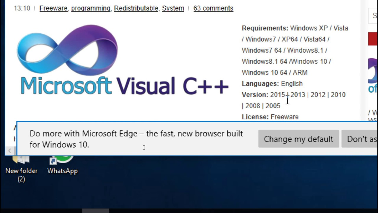 microsoft visual c++ 2013 redistributable package x64 download