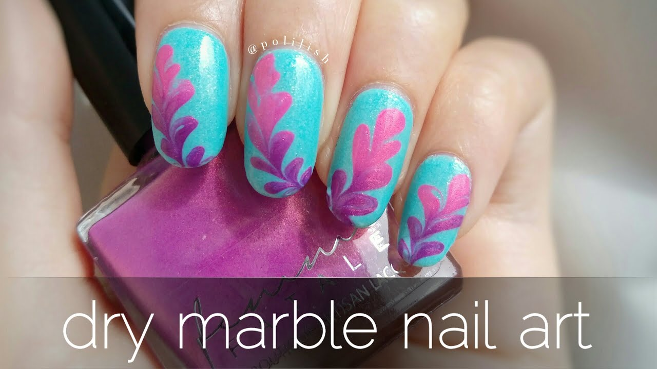 Dry marble nail art (with thermal polish) - YouTube