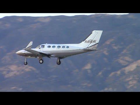 Cessna 414 Chancellor [N414HK] landing at Santa Barbara Airport