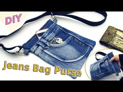 DIY Jeans Bag Purse Out Of Old Jeans - How To Sew Denim Shoulder Bag - Old Jeans Crafts Tutorial
