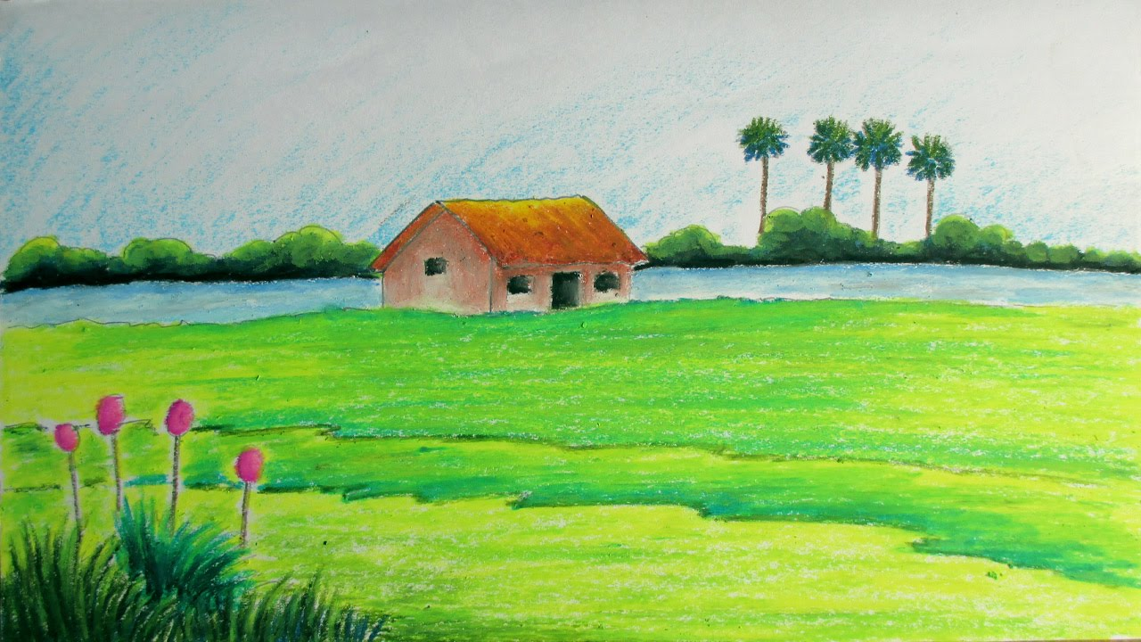 How To Draw A Village Landscape With Oil Pastels  Episode 11  Youtube