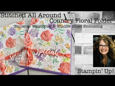 Country Floral Folder Stitched All Around Window Sheet Embossing Shimmer Watercolor DIY Wedding Card