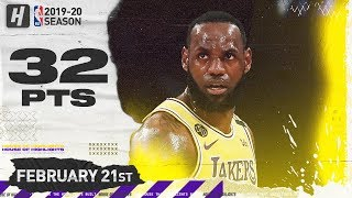 LeBron James 32 Points Full Highlights   Grizzlies vs Lakers   February 21, 2020