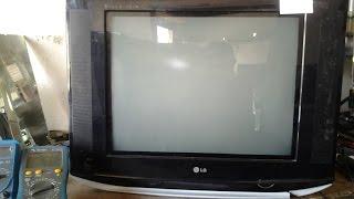( 54 )# TV LG DE 21 QUE VEIO DE OUTRA OFICINA PARADO COM VÁRIOS DEFEITO