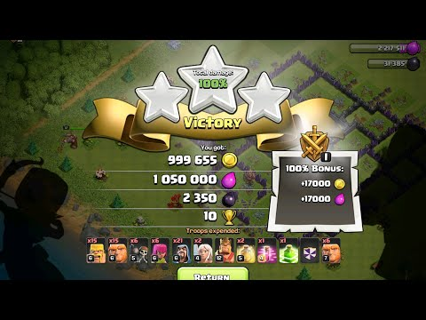Over 2 Million Total Resources Looted Using Giants & Wizards & TH9!