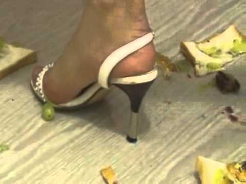 Bread and fruit crush with white Hugo Boss Heels