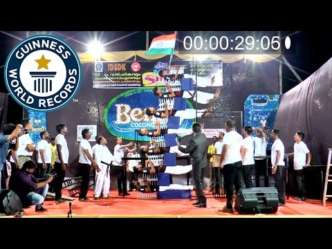 Indian martial artists smash bed of nails record - Guinness World Records