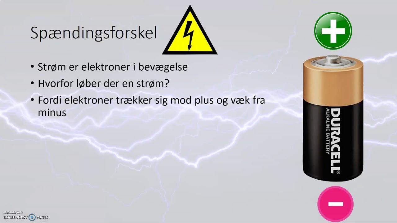 Elektricitet, strømstyrke og spændingsforskel
