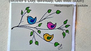 diy greeting card, how to draw a Mother