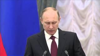 Владимир Путин на церемонии вручения премий Президента в области науки и инноваций молодым учёным