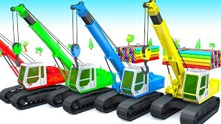 Colors for children to learn with Crawler Crane and Timber Truck Colors for kids