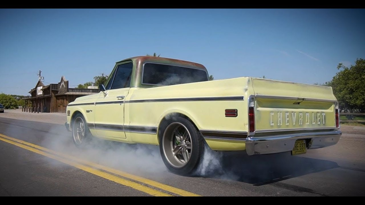 hight resolution of burnin rubber in a badass 1971 chevy c10 pickup baer brakes
