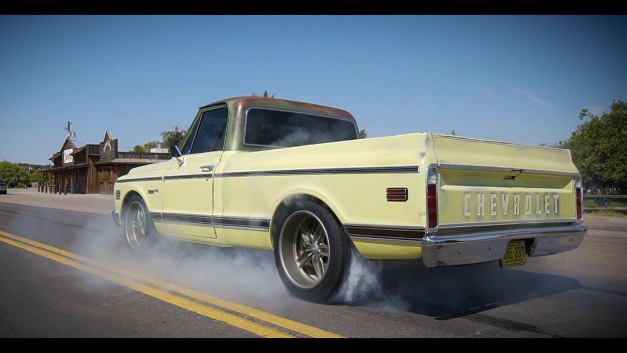 burnin rubber in a badass 1971 chevy c10 pickup baer brakes [ 1280 x 720 Pixel ]