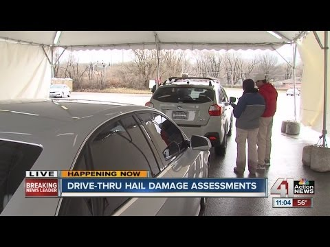State Farm does drive-thru hail damage assessments
