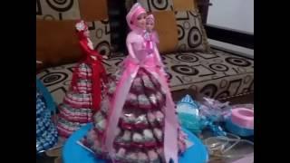 Tutorial membuat rok karton & menempel permen barbie candy