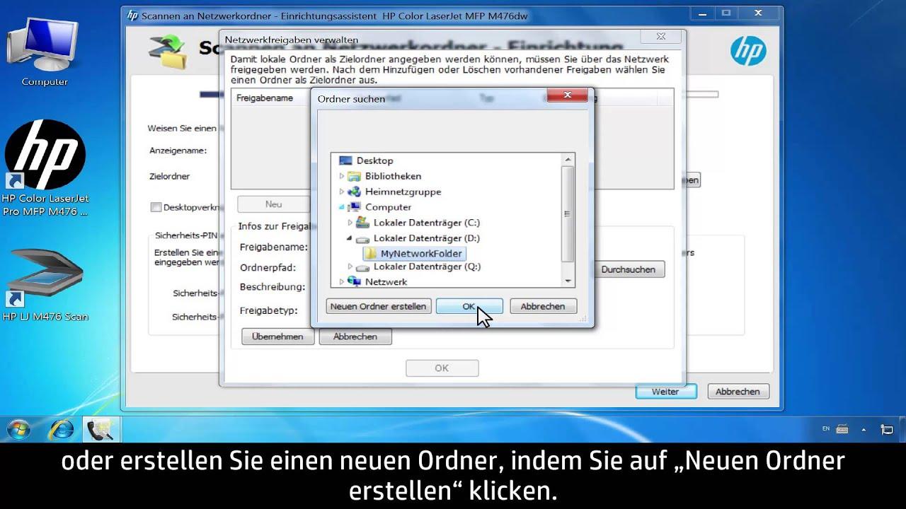 """Einrichten der Funktion """"Scannen in Netzwerkordner"""" mit HP  Software-Assistenten (Windows)"""