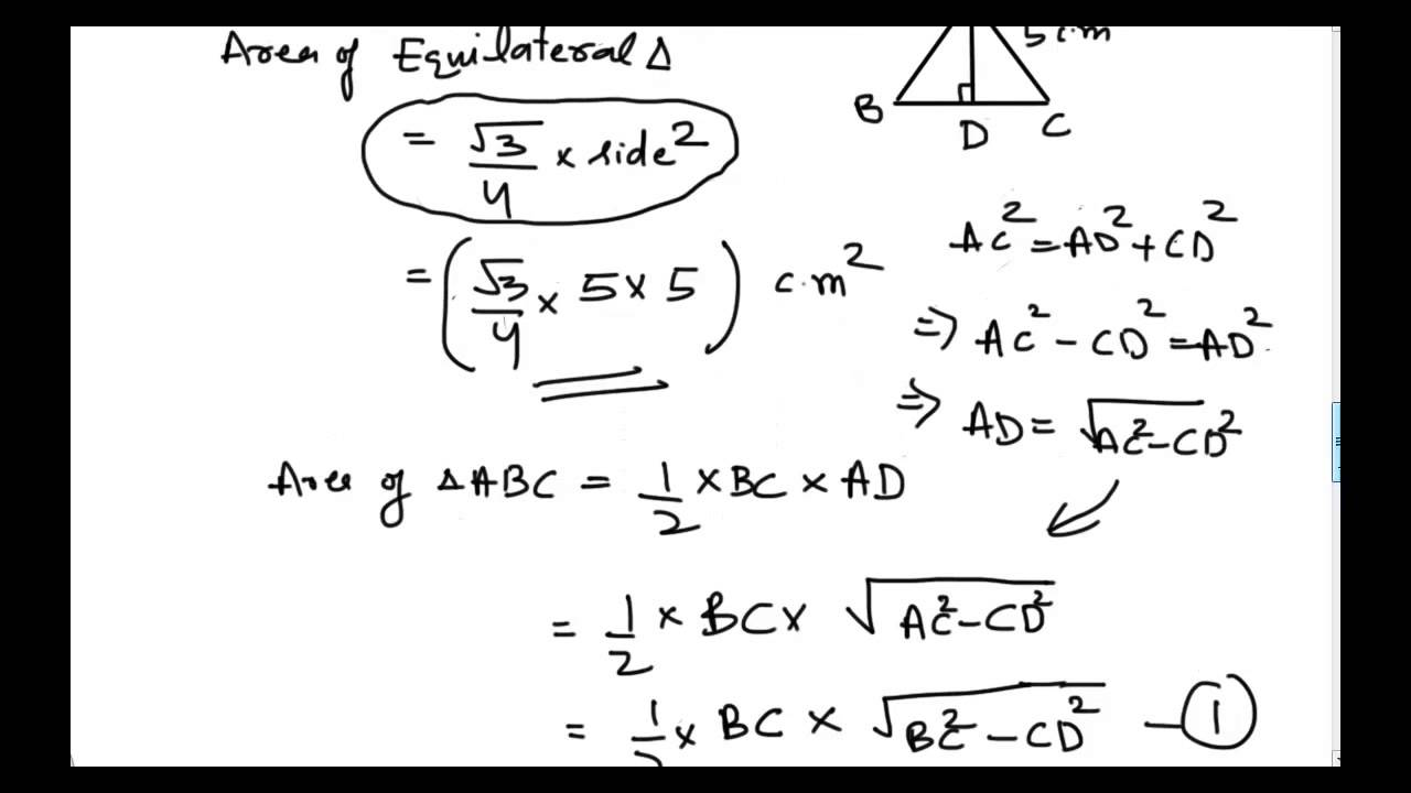 How to derive area of equilateral triangle youtube ccuart Choice Image