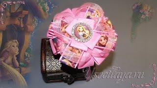 Как сделать бантик с принцессой Рапунцель /DIY, How to make a beautiful bow with Princess Rapunzel