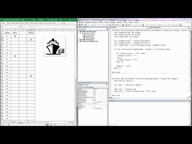 165. Excel-VBA: Die wandernde Grafik und Kreuze setzen per Doppelklick
