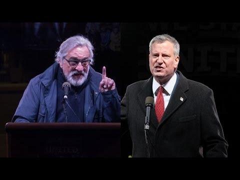 Bill de Blasio, Robert De Niro Lead Protest Against Trump's Inauguration