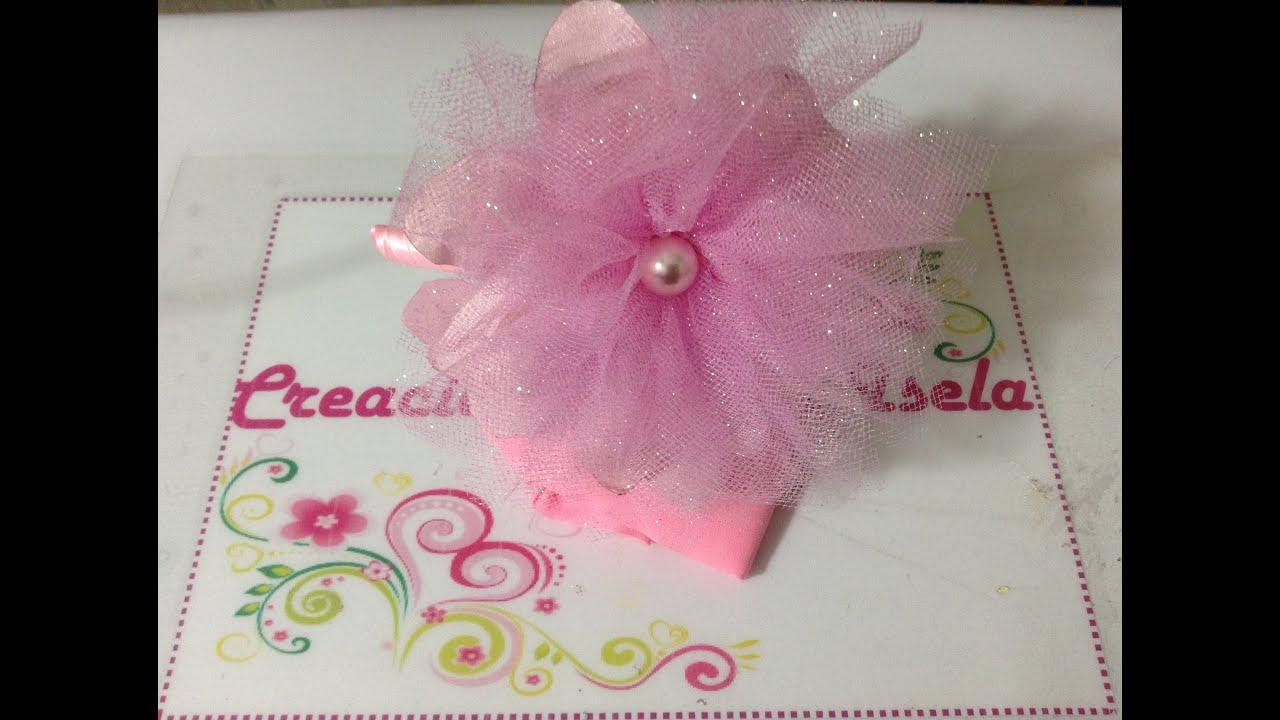 Diadema con flor de tela y tul creaciones rosa isela video - Material para hacer diademas ...