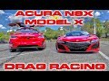 Supercar vs SUV - Tesla Model X P100D Ludicrous vs Acura NSX Drag Racing 1/4 Mile