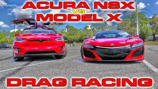 Supercar vs SUV - Tesla Model X P100D Ludicrous vs Acura NSX Drag Racing 1/4 Mile