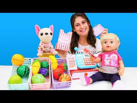 Marketçilik oyunu! Ayşe ve oyuncak bebek Gül ile eğitici oyunlar!