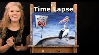 TIME LAPSE Version of How to Paint OUT OF LUCK PELICAN with Acrylic - Fun Easy Step by Step Tutorial