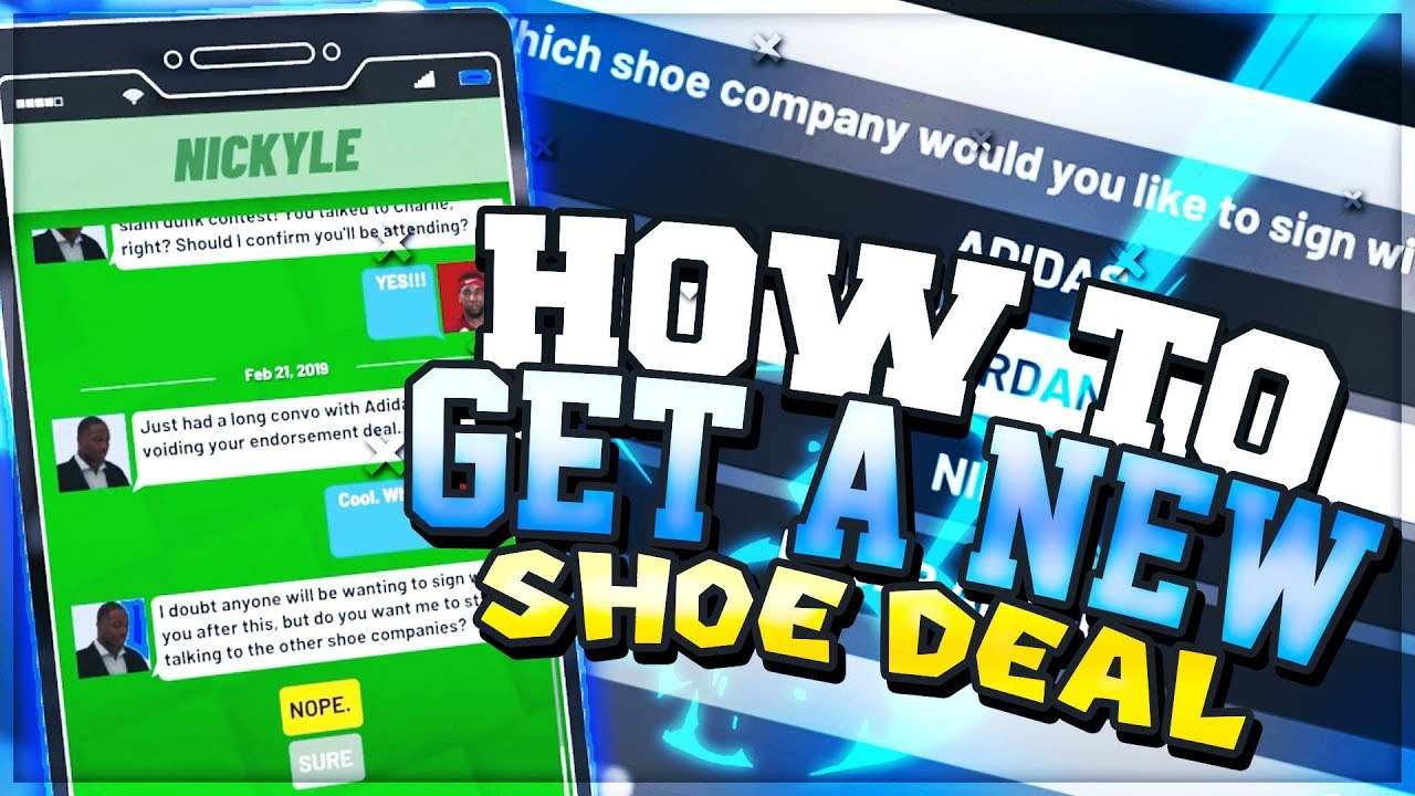 NBA 2K19 HOW TO SIGN WITH A DIFFERENT SHOE COMPANY! HOW TO CHANGE YOUR SHOE  ENDORSEMENT!
