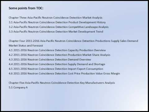 Asia Pacific Neutron Coincidence Detection Market Research Report 2016 2020