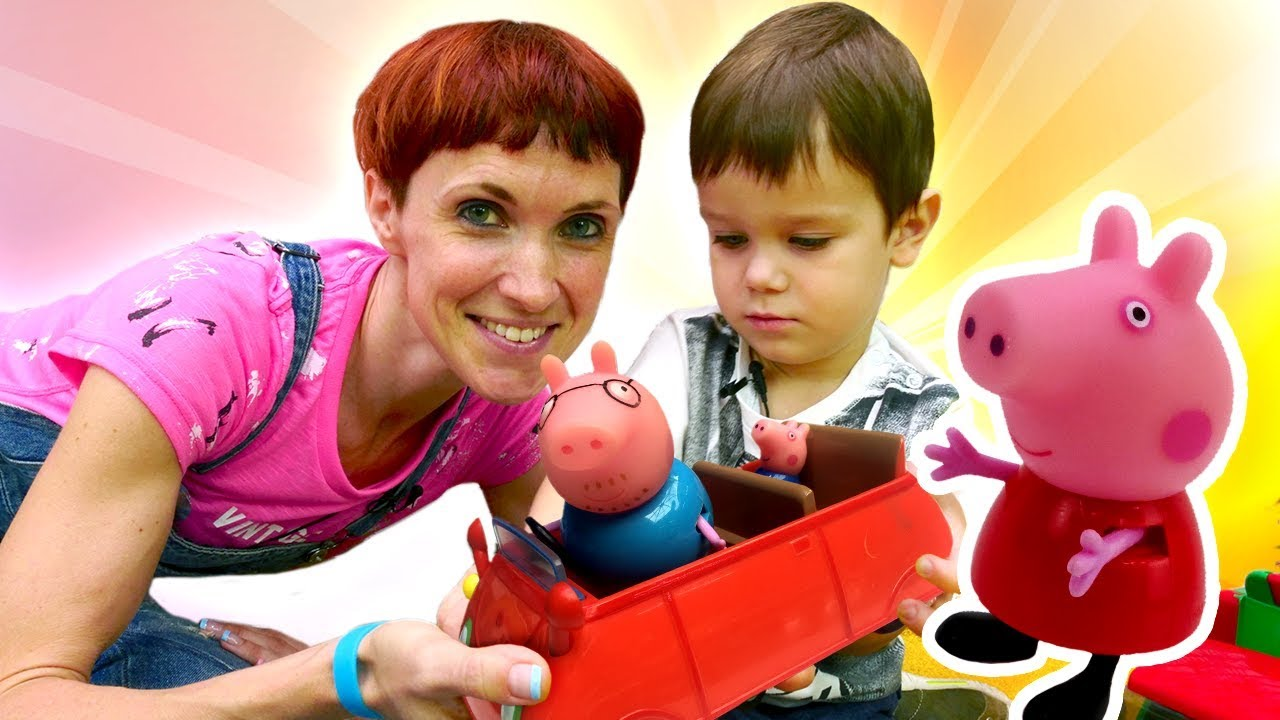 Свинка Пеппа едет в бассейн. Видео для детей с машинками ...
