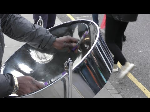 The Steelpan. London Street Music. Caribbean Instrument from Trinidad and Tobago