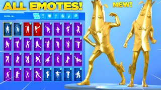 GOLD PEELY SKIN Showcase with All Fortnite Dances & Emotes! (Chapter 2 Season 2 Skin)