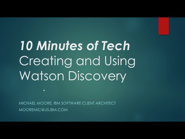 Watson Discovery Service Introduction