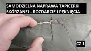 Samodzielna naprawa renowacja skórzanej tapicerki foteli samochodowych cz1 łatanie dziury w fotelu:)