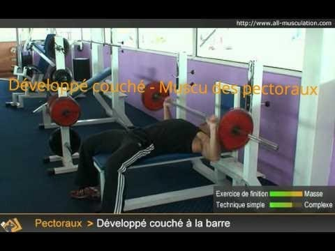 Exercice du d velopp couch barre exercice de - Pectoraux developpe couche ...