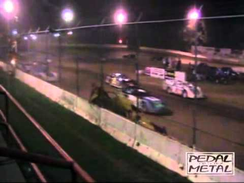 Highland Speedway, Highland IL Late Model Crash 7 17 10.mp4