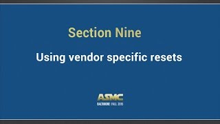 DDI training Section 9 - Vendor specific resets