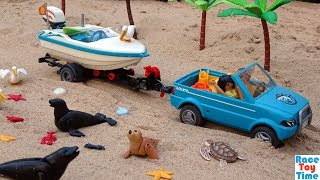 Playmobil Summer Fun Speedboat Build and Play Playset and Sea Animal Toys in the Pool For Kids