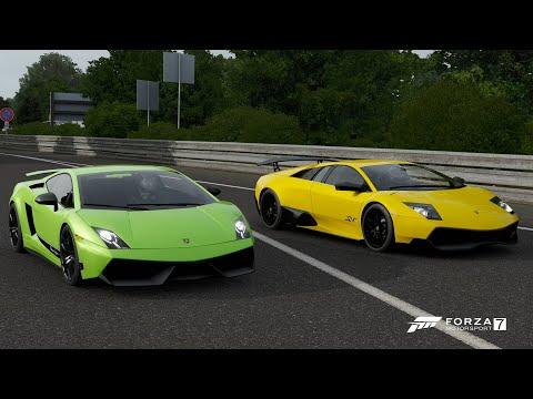 Forza 7 Drag Race: Lamborghini Murcielago SV Vs Gallardo LP570-4 Superleggera (REMATCH)