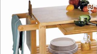 Winsome Kitchen Cart With Cutting Board, Knife Block And Shelves 89933