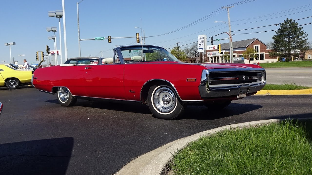 1970 chrysler 300 convertible in red paint engine sound. Black Bedroom Furniture Sets. Home Design Ideas