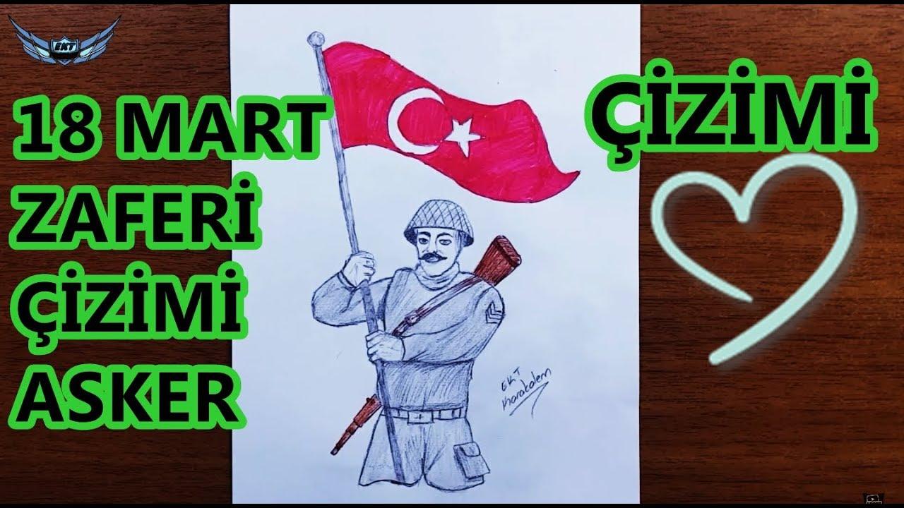 Elinde Bayrak Olan Turk Askeri Nasil Cizilir 18 Mart Ile Ilgili