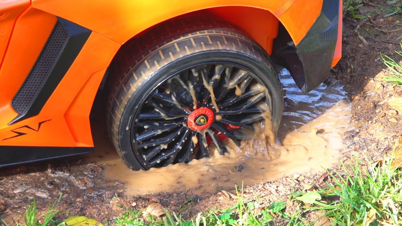 Power wheels Lambo stuck in the mud