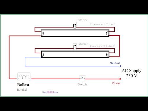 Connection diagram of two fluorescent tube light is ...